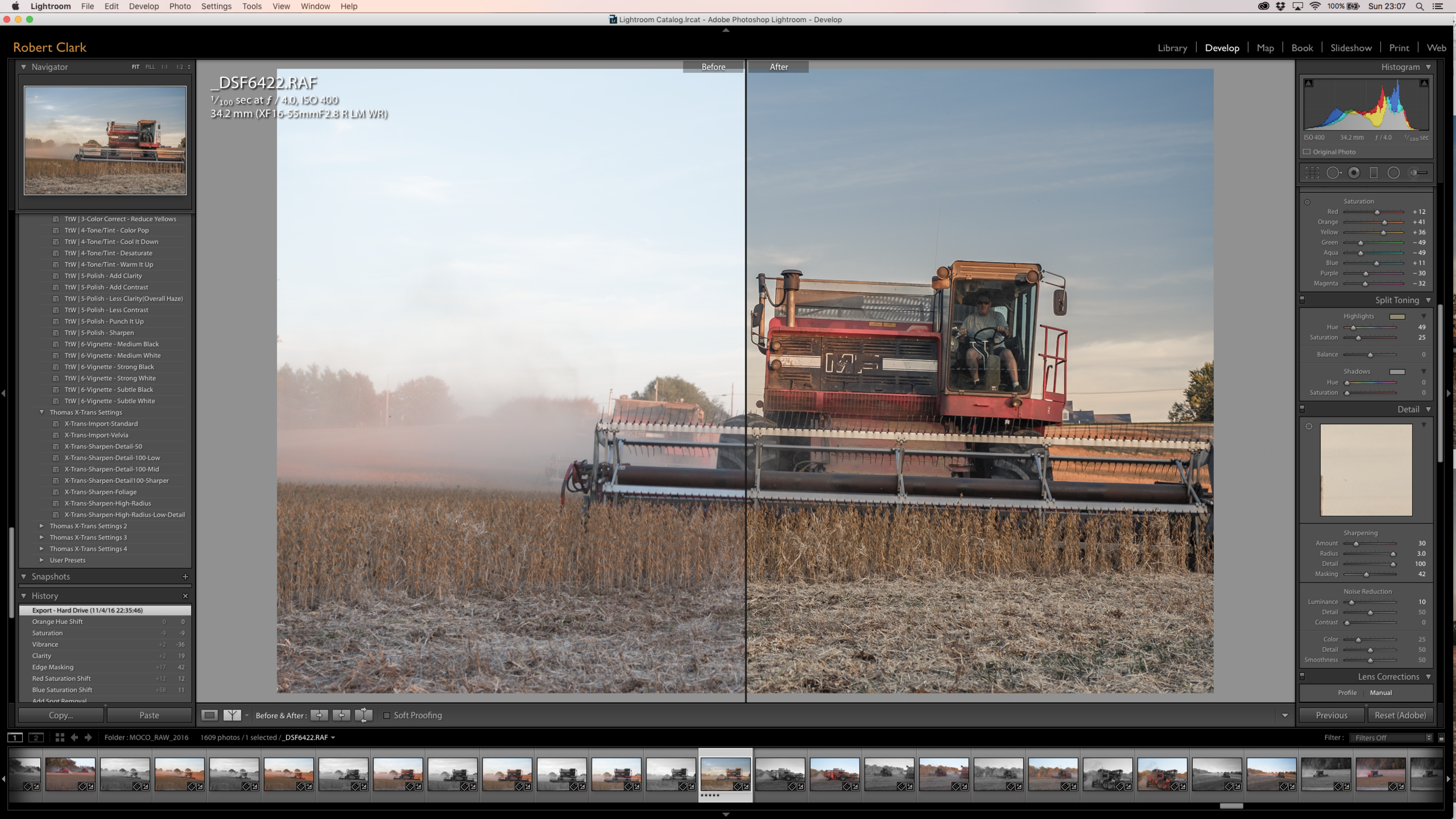 Split Screen: Before and After -The Big Red Combine