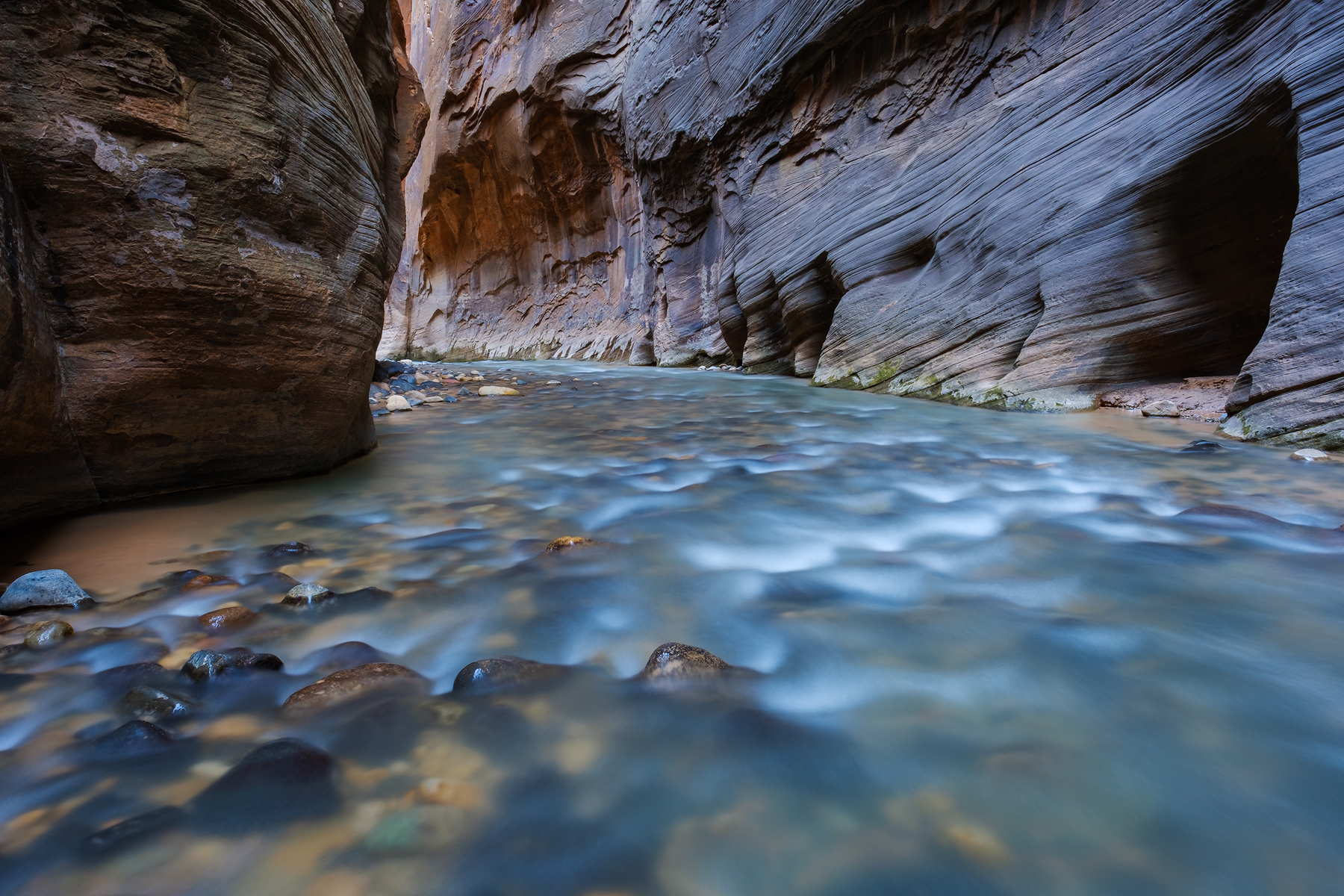 In the Slot • The Narrows, Zion National Park, Utah. Fuji X-T2 and a Fujinon XF14mm f2.8 R. Image exposed at ISO 200 at f11 for 10 seconds.