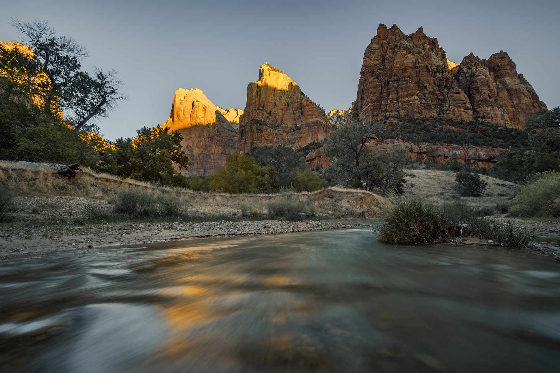Sunrise at the Court of the Patriarchs, Zion National Park, UT.