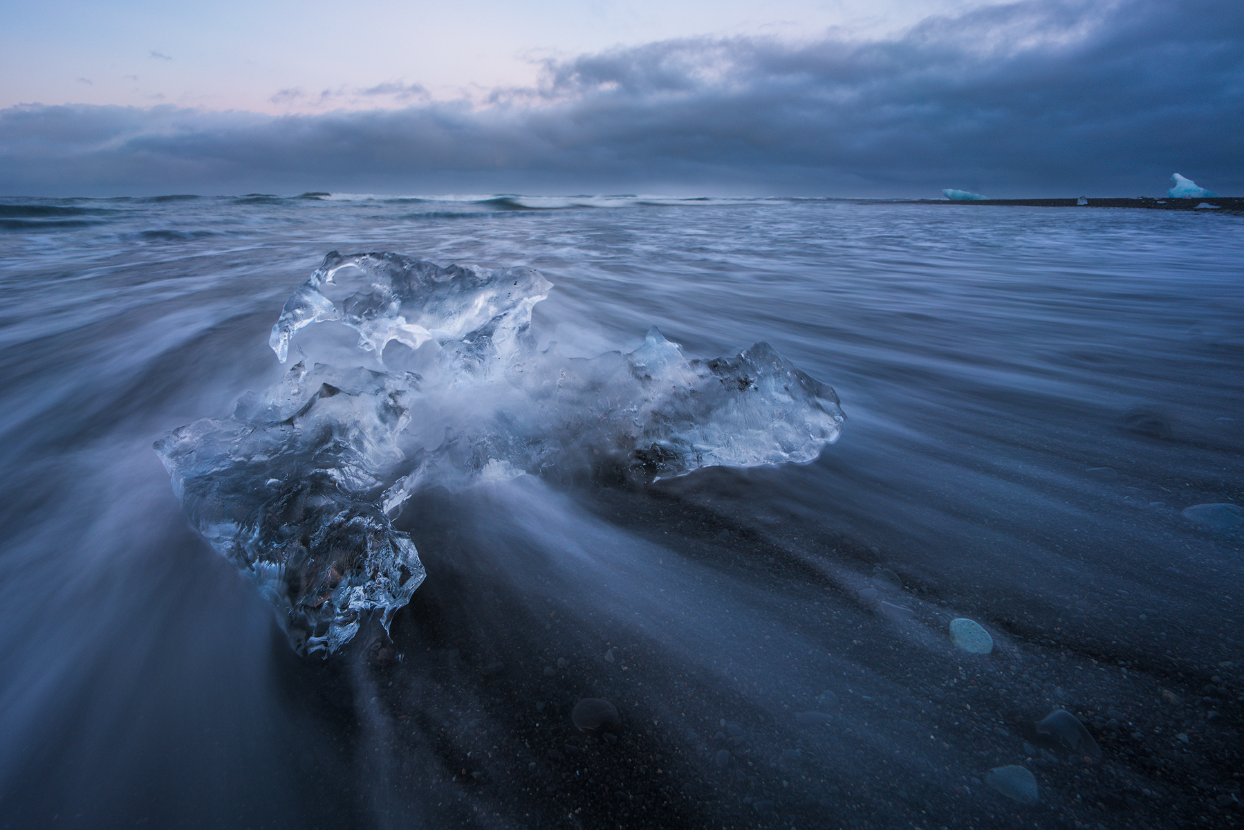 Ice in the Flow No. 4, Jölkusárlón Ice Beach, | Sony a7RII and a Voigtlander 15mm f4.5 Heliar III | Image Exposed at ISO 100 at f11 for 1 Second.