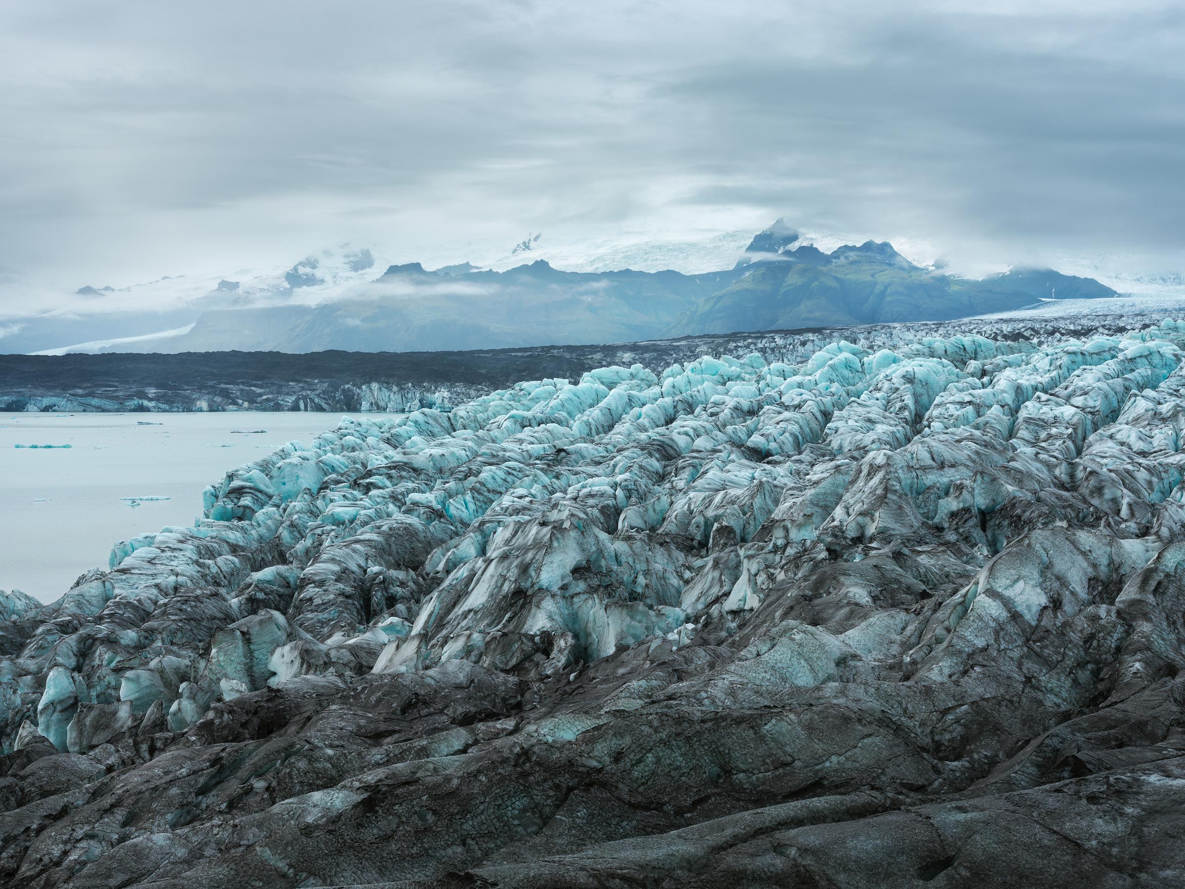 Blue-green seracs form the tongue of Breiðamerkurjökull.