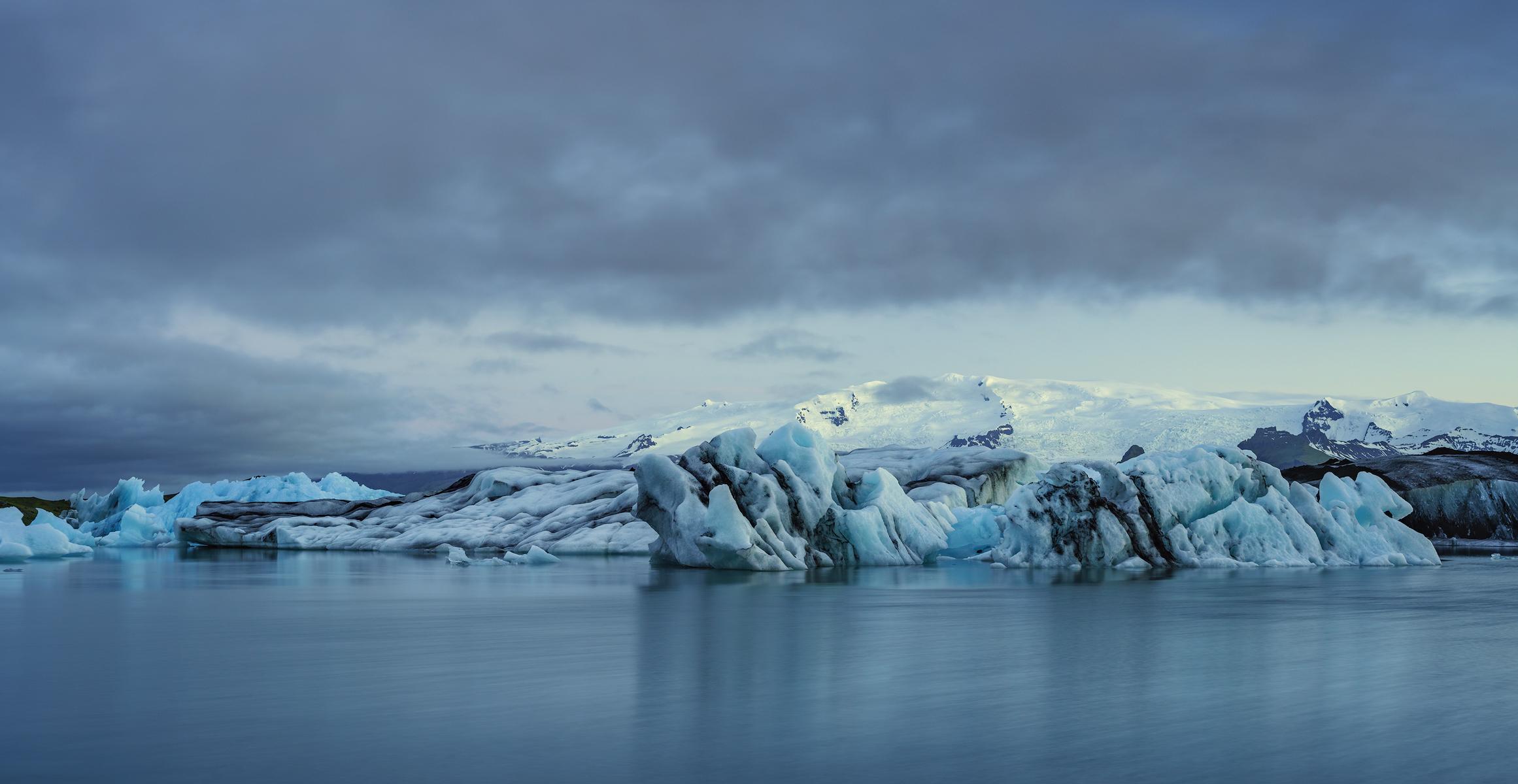 Ice from Breiðamerkurjökull drifts in Jölkúsarlón Glacial Lagoon.