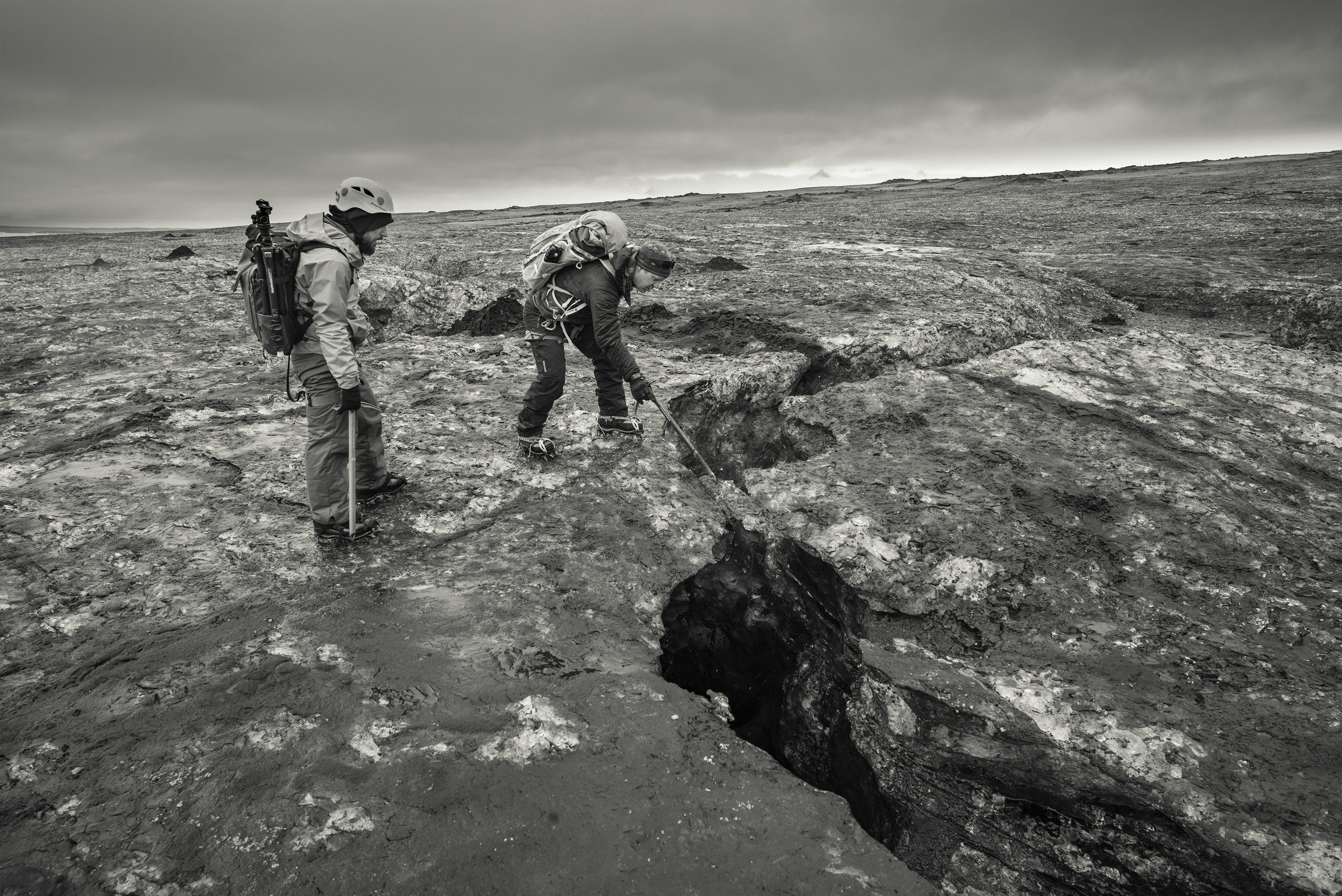 A large fissure cut deep into the hard packed ice. You could hear water running through this one.