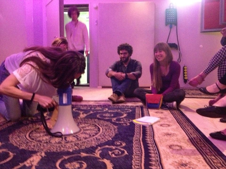"""Hafif …"" language session by Fadi El Tofeili and Mounira Al Solh, studio Salve (Niek de Wit )"