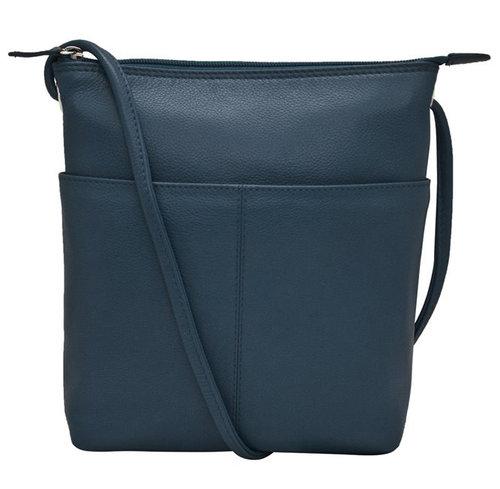 3d9e11864e5da LG Navy Blue Leather Crossbody Sac Small Handbag — MUSEUM OUTLETS