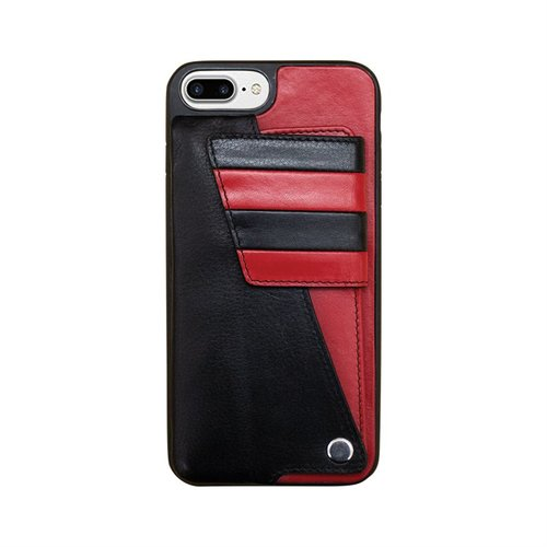 4b289710e red black leather cell phone credit card holder — MUSEUM OUTLETS