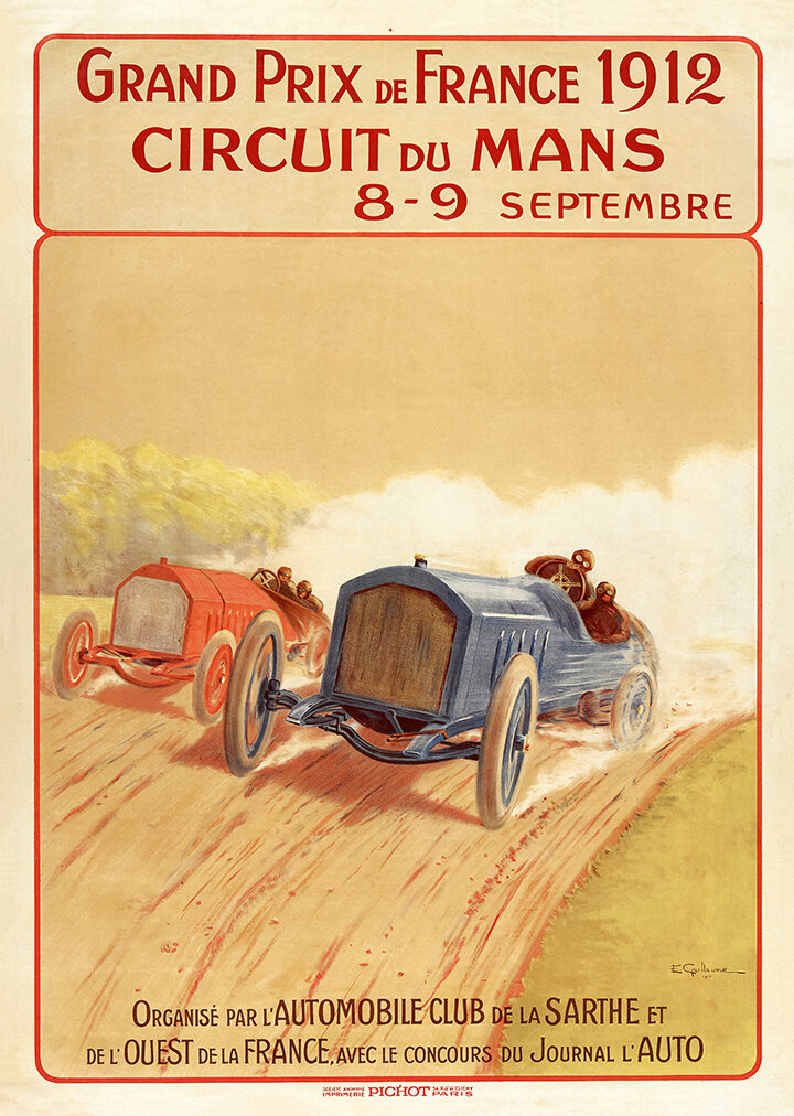 Hurtu 1920s Vintage  motor car advertising poster reproduction.