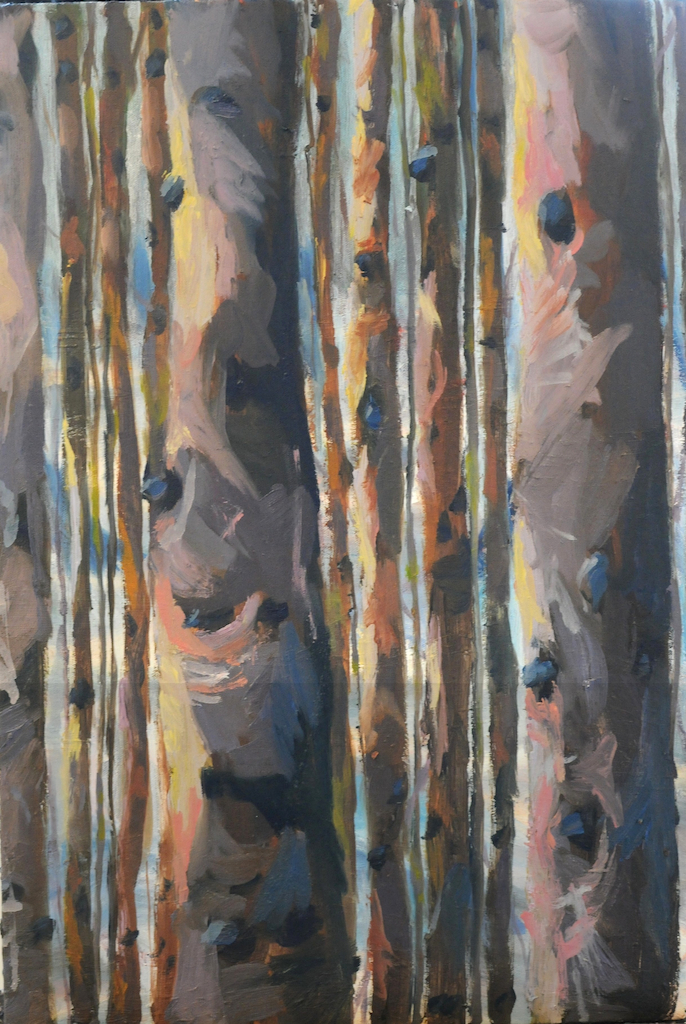 Winter Pine Strip Trees