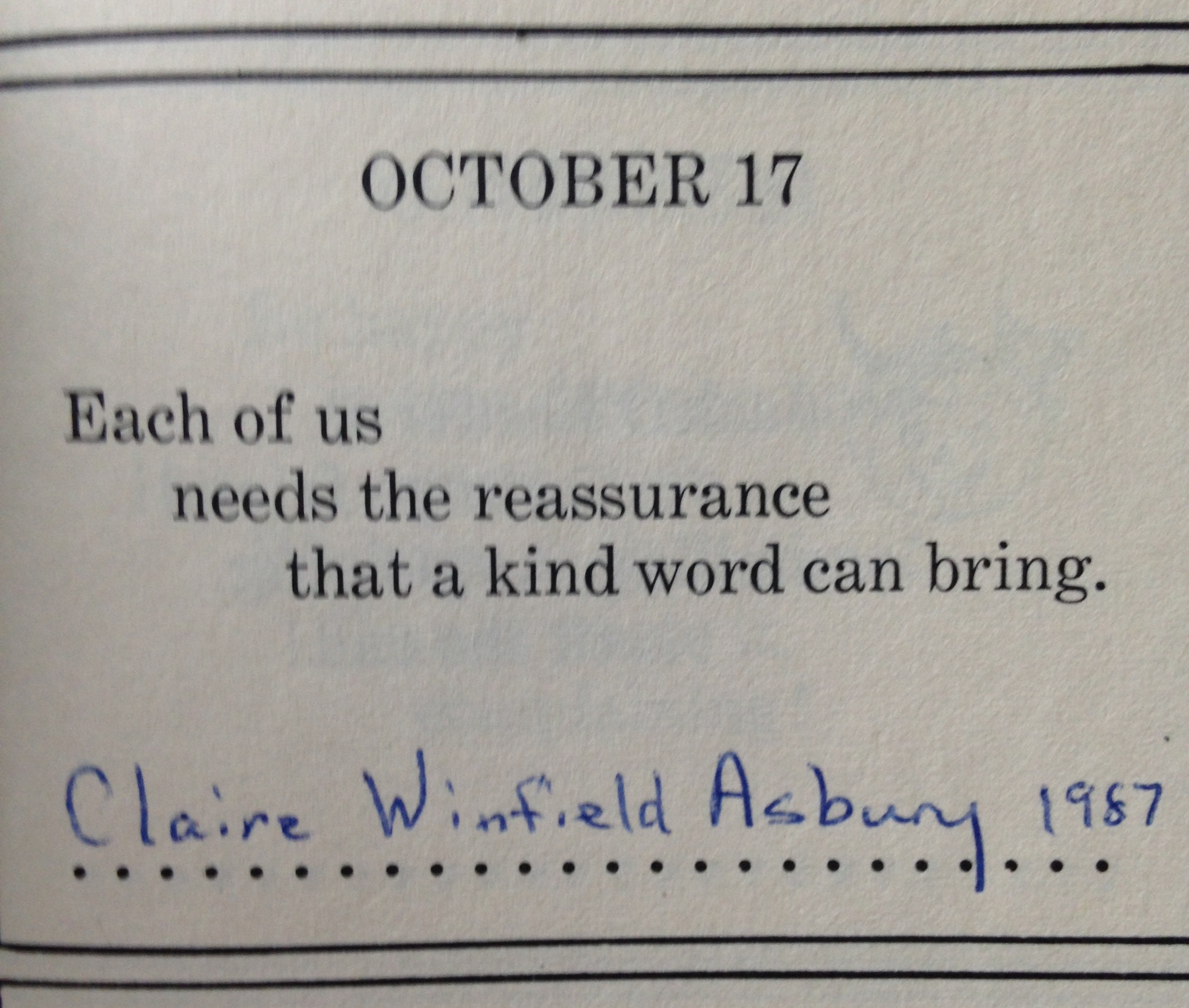 From my grandmother's birthday book.