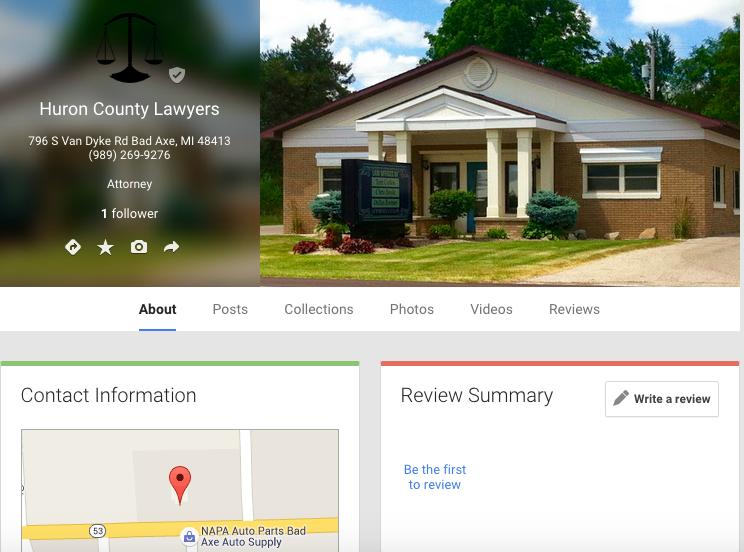 Huron County Lawyers Google My Business Profile