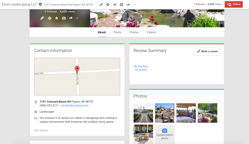 Esch Landscaping Google Business Profile - About