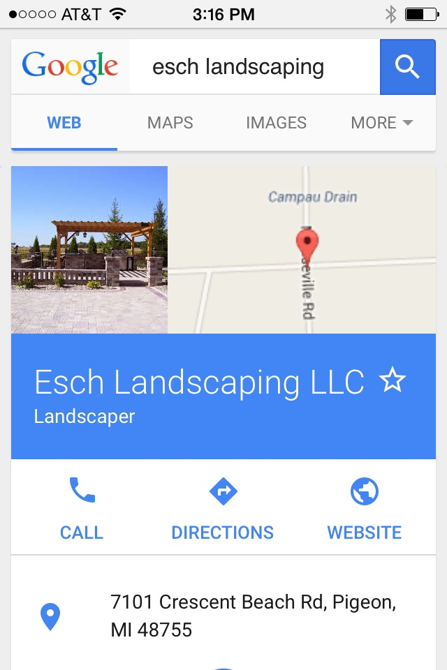 Esch Landscaping Mobile Search - Google My Business Setup