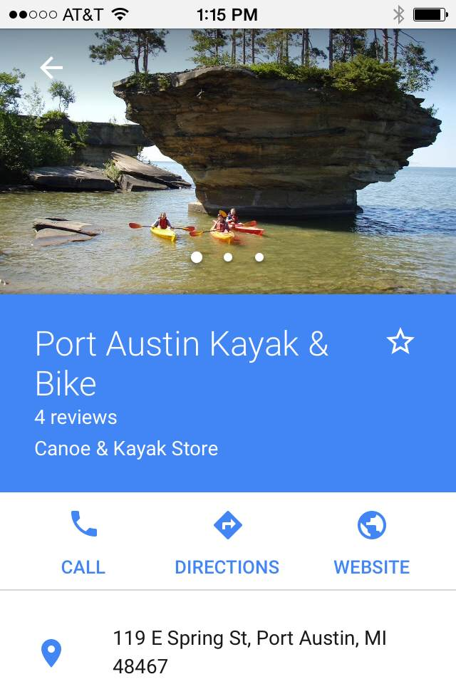 Port Austin Kayak Google My Business Mobile Search Full