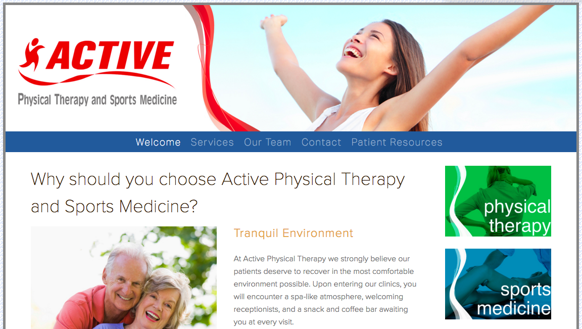 Active Physical Therapy and Sports Medicine Home Page Example