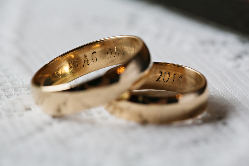 Rings by Kim & Leif:  Both 14k yellow 6mm half round band, high polish.    Wedding Photographer:   Jenny J
