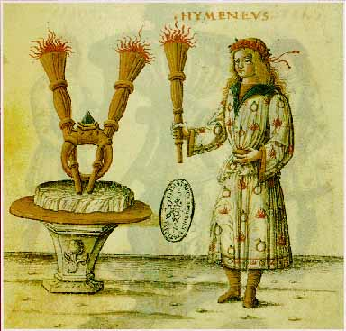Illustration from Costanzo Sforza and Camilla D'Aragona's wedding depicting the diamond ring holding up the two burning torches.