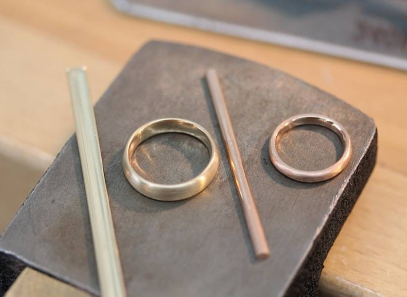 You will start with flat metal stock that you will form, solder, and shape into your wedding bands.