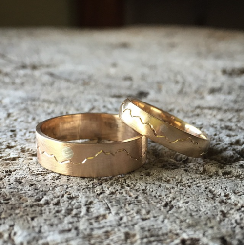 olympic mountain and moon wedding bands yellow gold