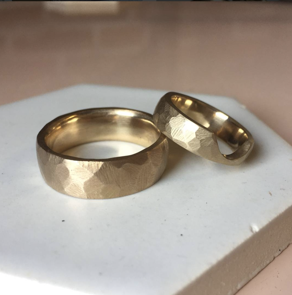 faceted yellow gold wedding bands