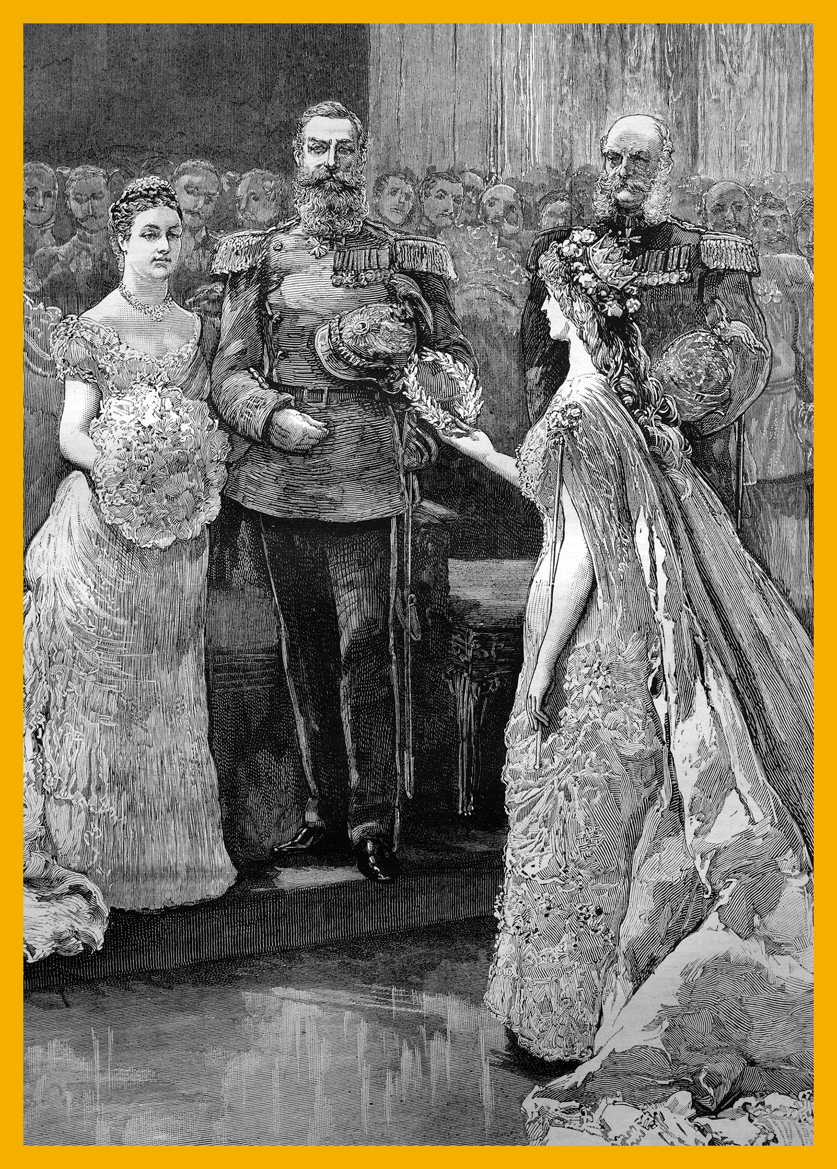 """The silver wedding of the imperial prince and princess of Germany, the koenigin minne"""" or """"queen of love"""" presenting a silver wreath to the imperial princess, historical illustration, 1884. Bildagentur-online/uig via Getty Images"""
