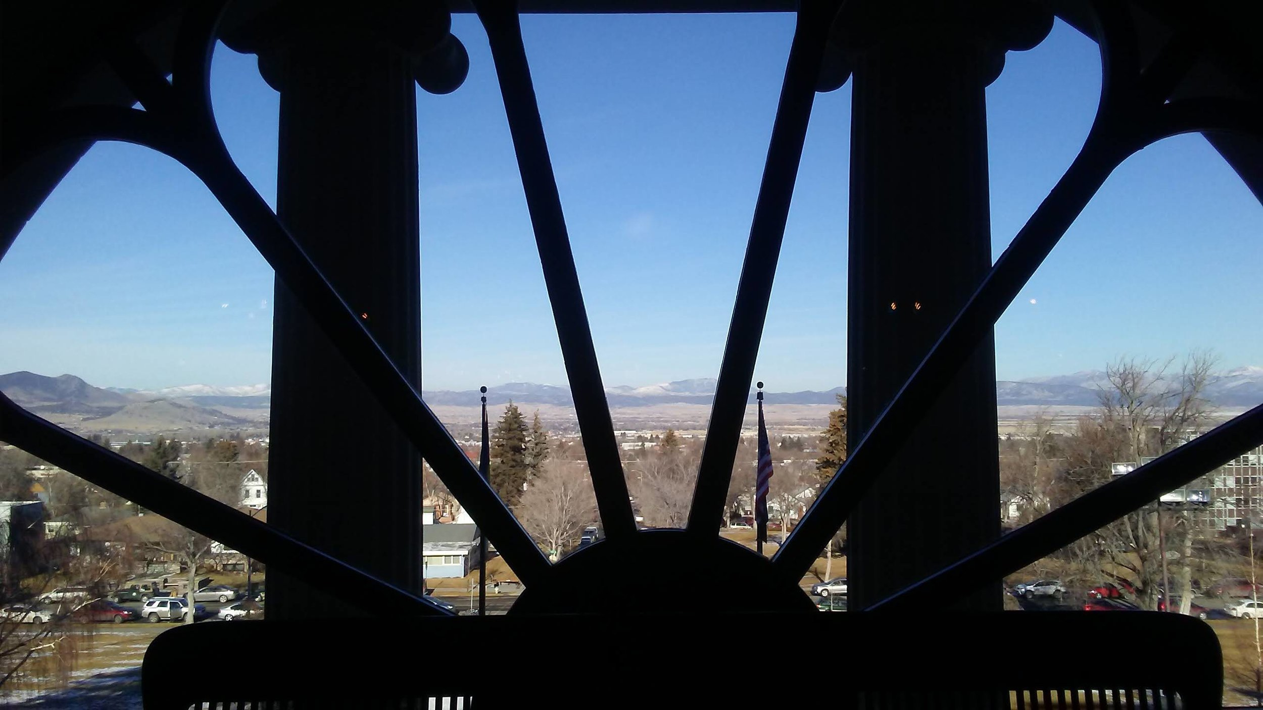Big Belt Mountains (Helena National Forest) on a bluebird day as seen from the Montana state capitol building in Helena.