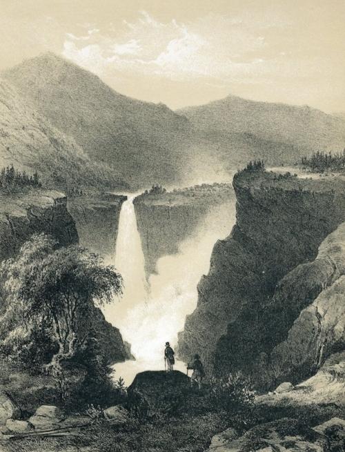 Gustav Adolph Mordt, illustration of  Rjukanfoss/ Tellemarken  (1848).