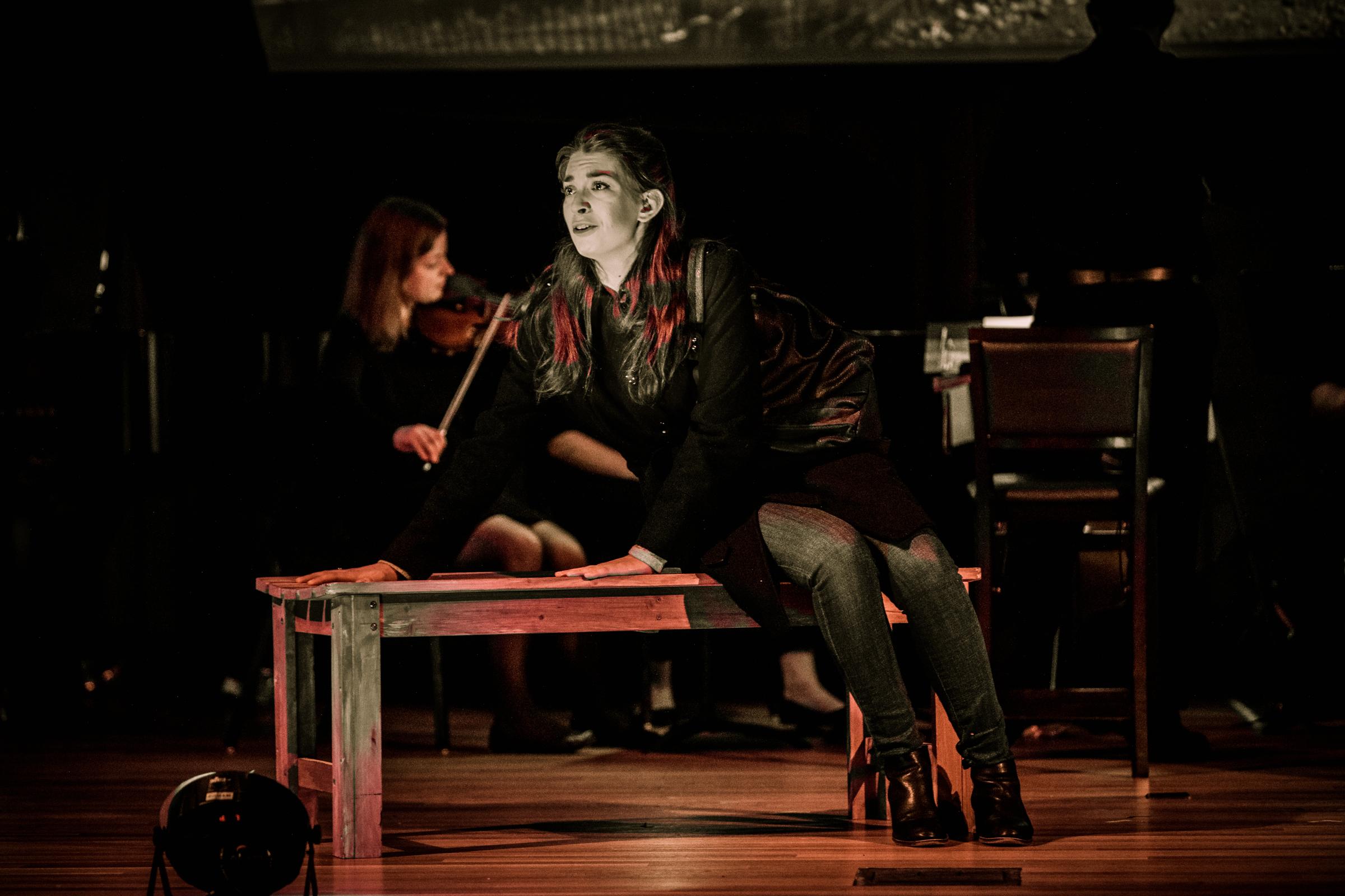 Aija Reke and Carley DeFranco in  Absent Grace , Boston Opera Collaboraitve, 2018. Photo by Dan Busler.