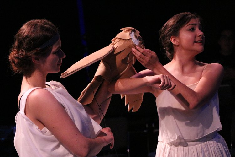 Meredith Sullivan and Krista Marie Ivan in the University of Pittsburgh production of  Aglaonike's Tiger . Mask by  Michael McDevitt . Photo by Amanda Olmstead.