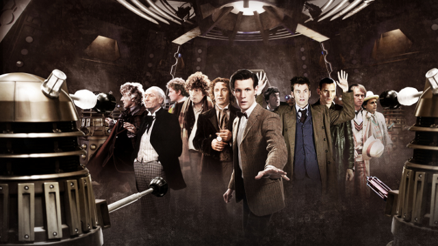 11 of the 12 actors who've portrayed Doctor Who. The incumbent, Peter Capaldi (2014) is not present.