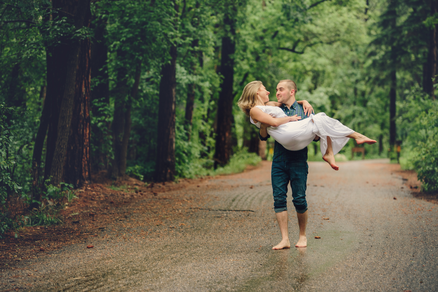 It never rains in Arizona, right?  June is a little early for monsoon season in No. Arizona, and that made this day particularly special. It was warm and foggy, and the creeks were swelling with rain.  What an exciting engagement session . . . we had a blast, using the weather as a prop!