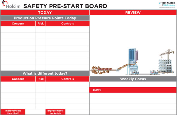 Sample Pre-Start Check board created for Holcim Australia and shipped to sites nationwide