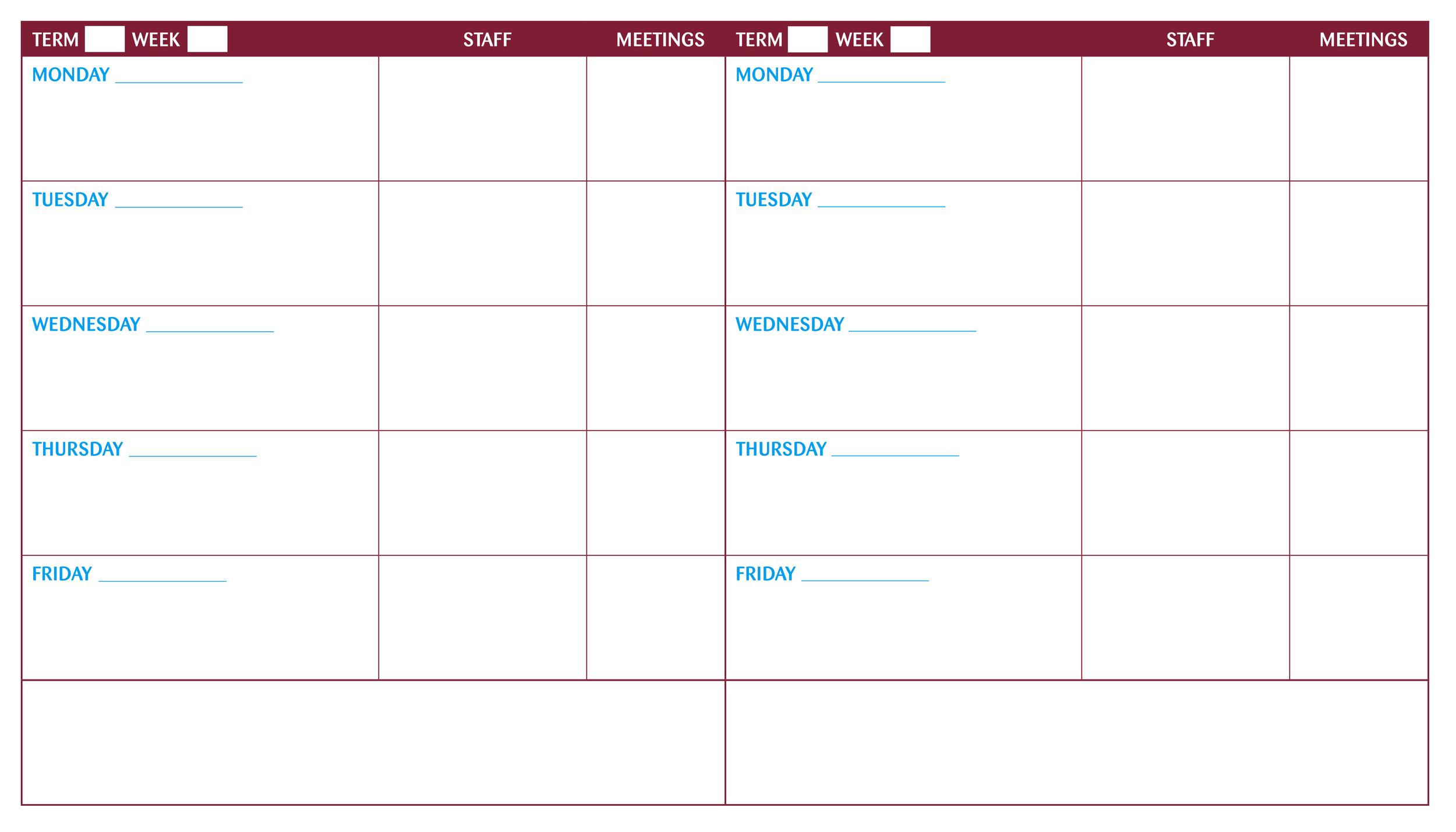 Dual Weekly School Planner Whiteboard #whiteboardsyourway