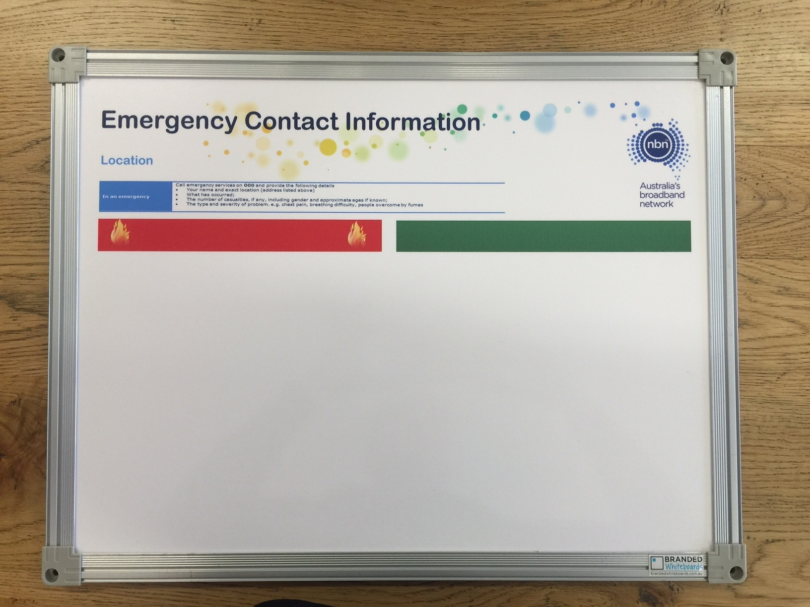 NBN Emergnecy Contacts Whiteboards