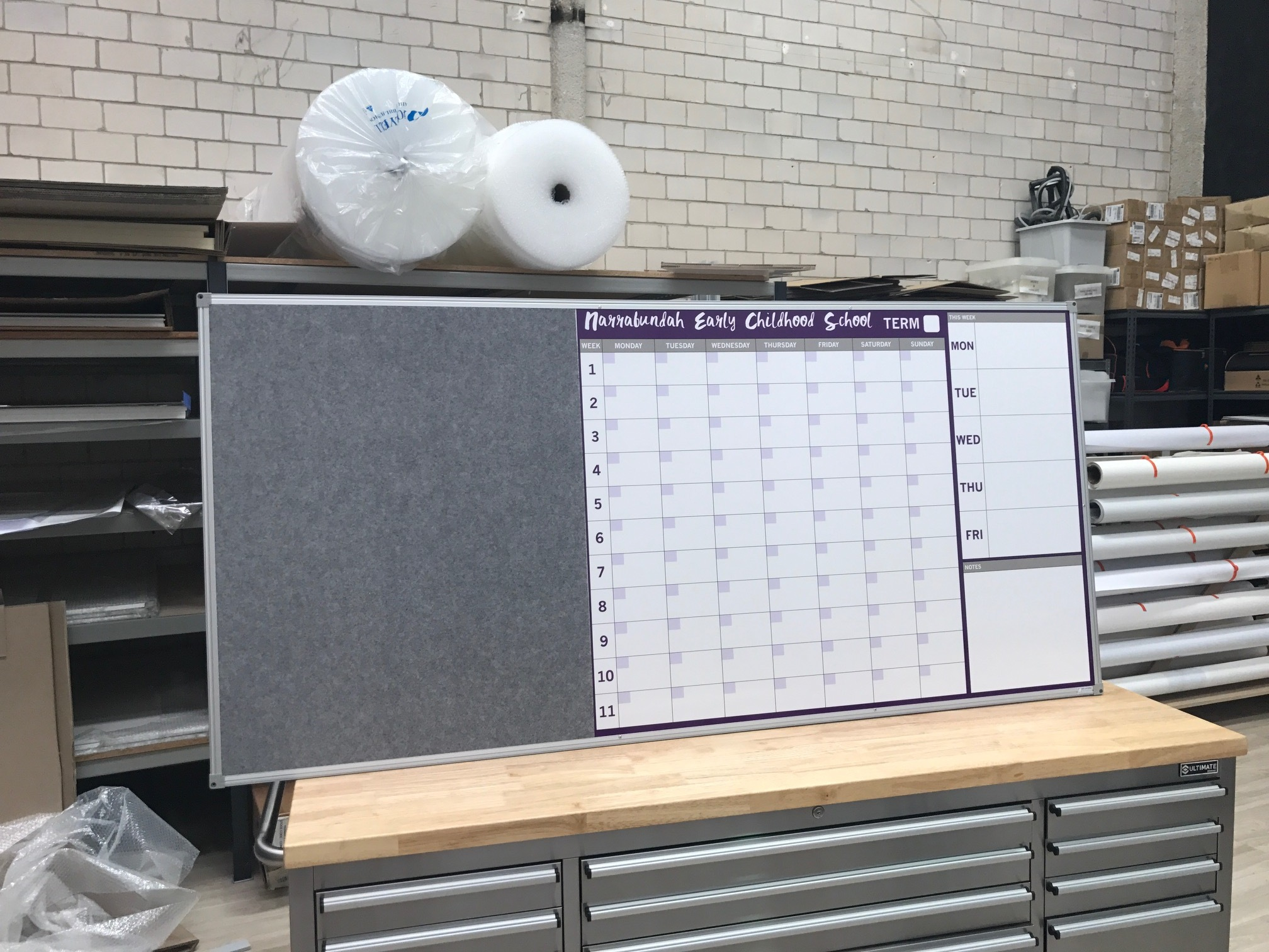 Custom Term Planner - Whiteboard with Pinboard