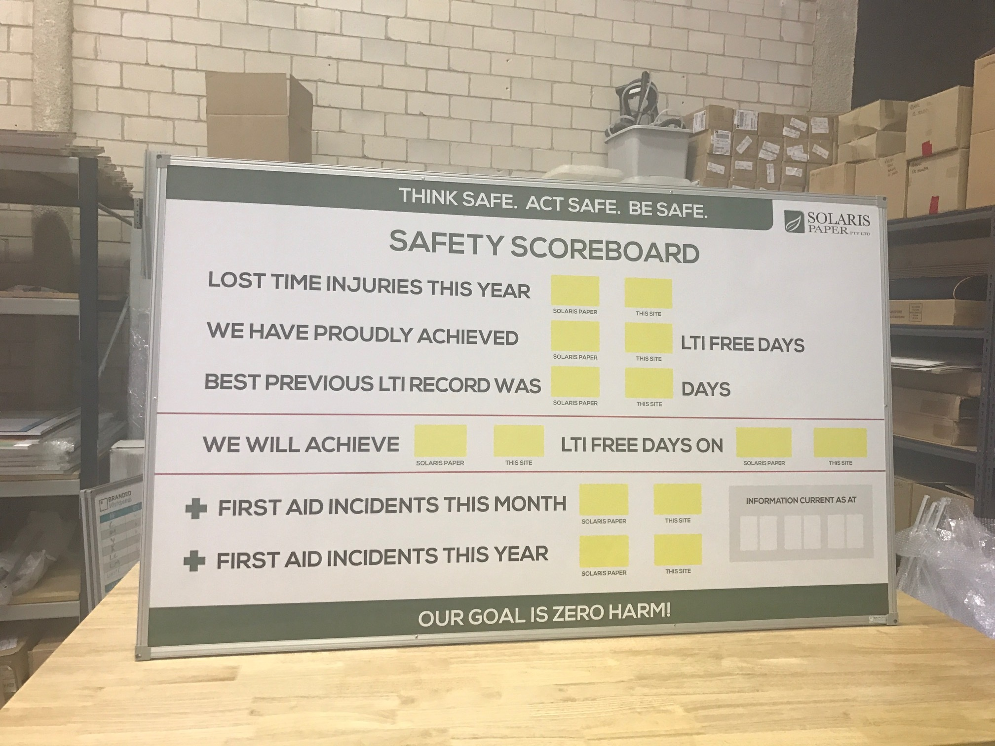 Safety Check Whiteboards