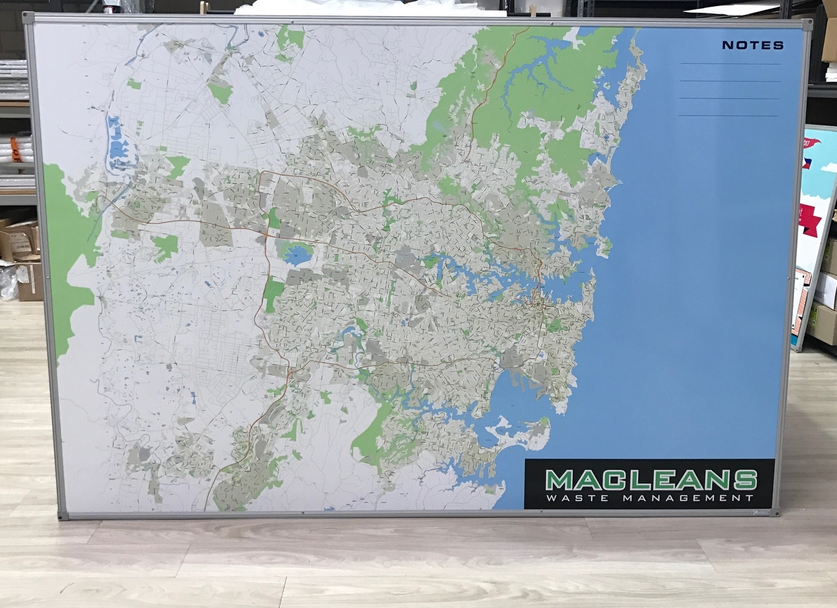 Sydney City Map Whiteboard for Macleans Waste Management