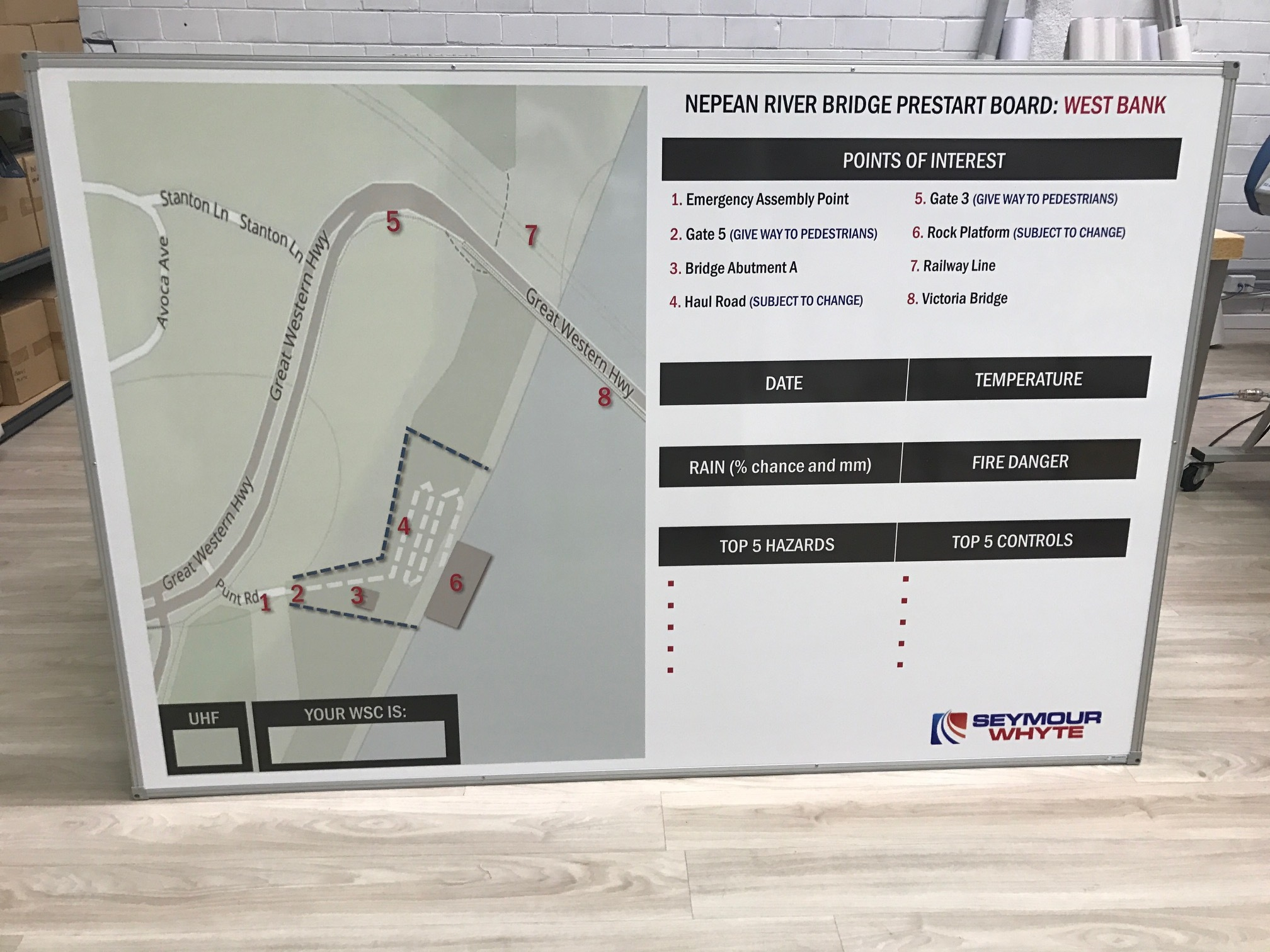 PreStart board with site map - Seymour Whyte #seymourwhyte