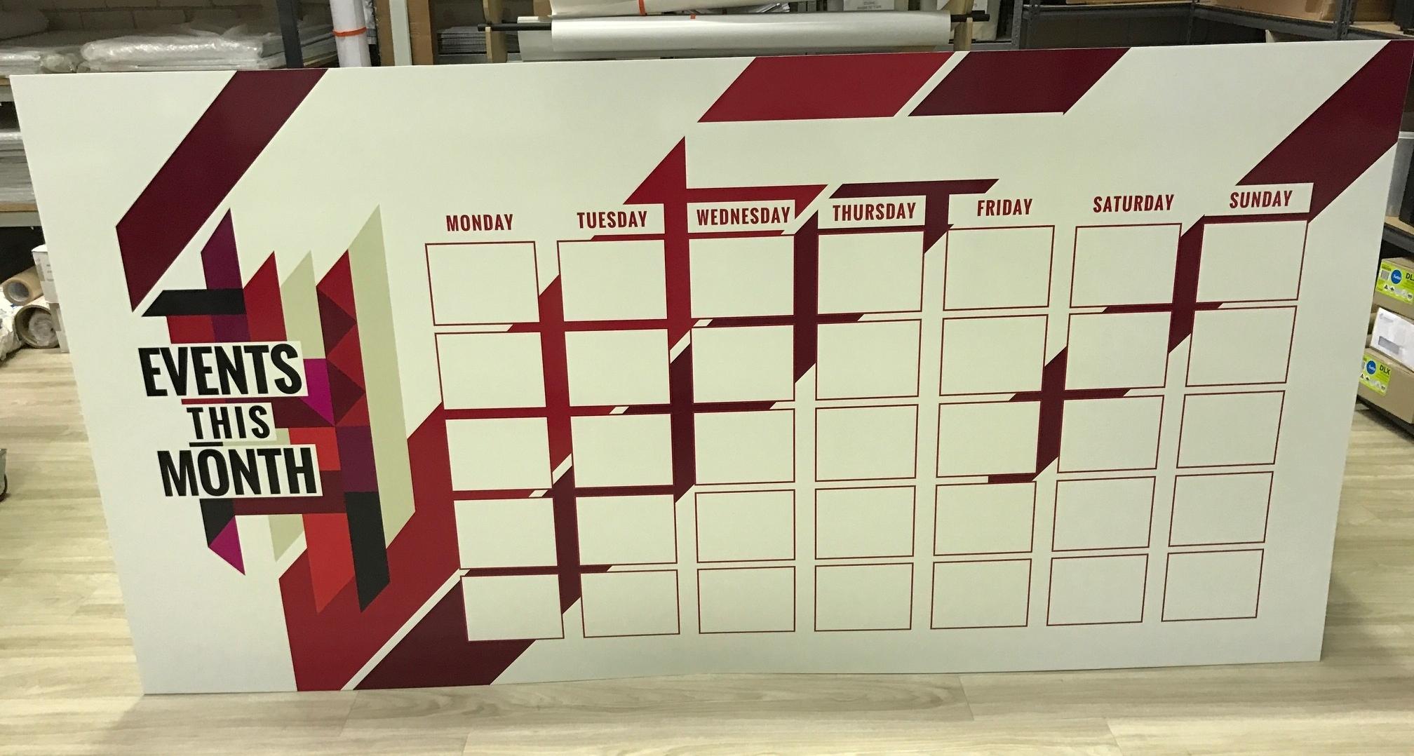 Event planner whiteboard