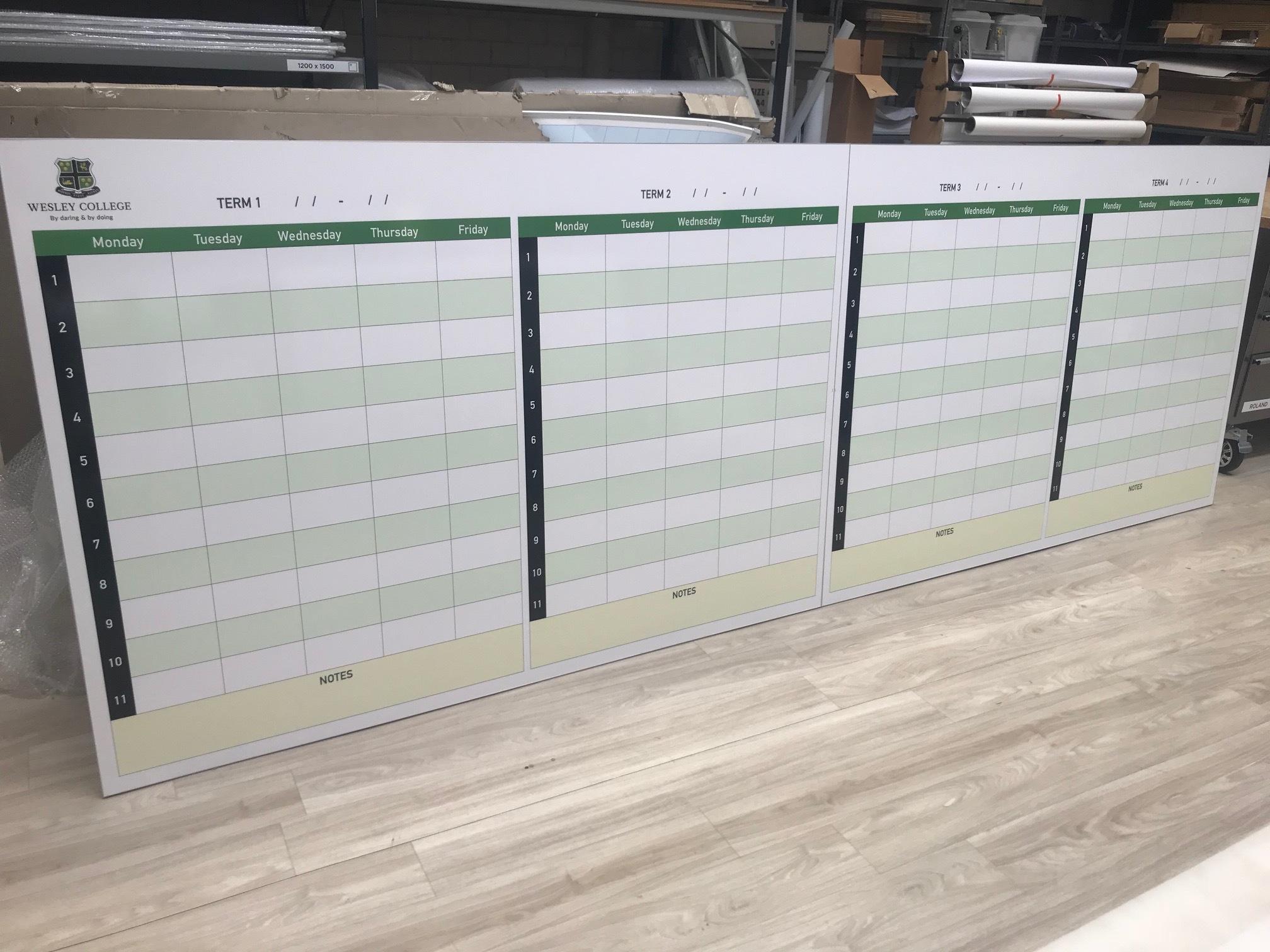 Large School Term Planner Whtiteboard