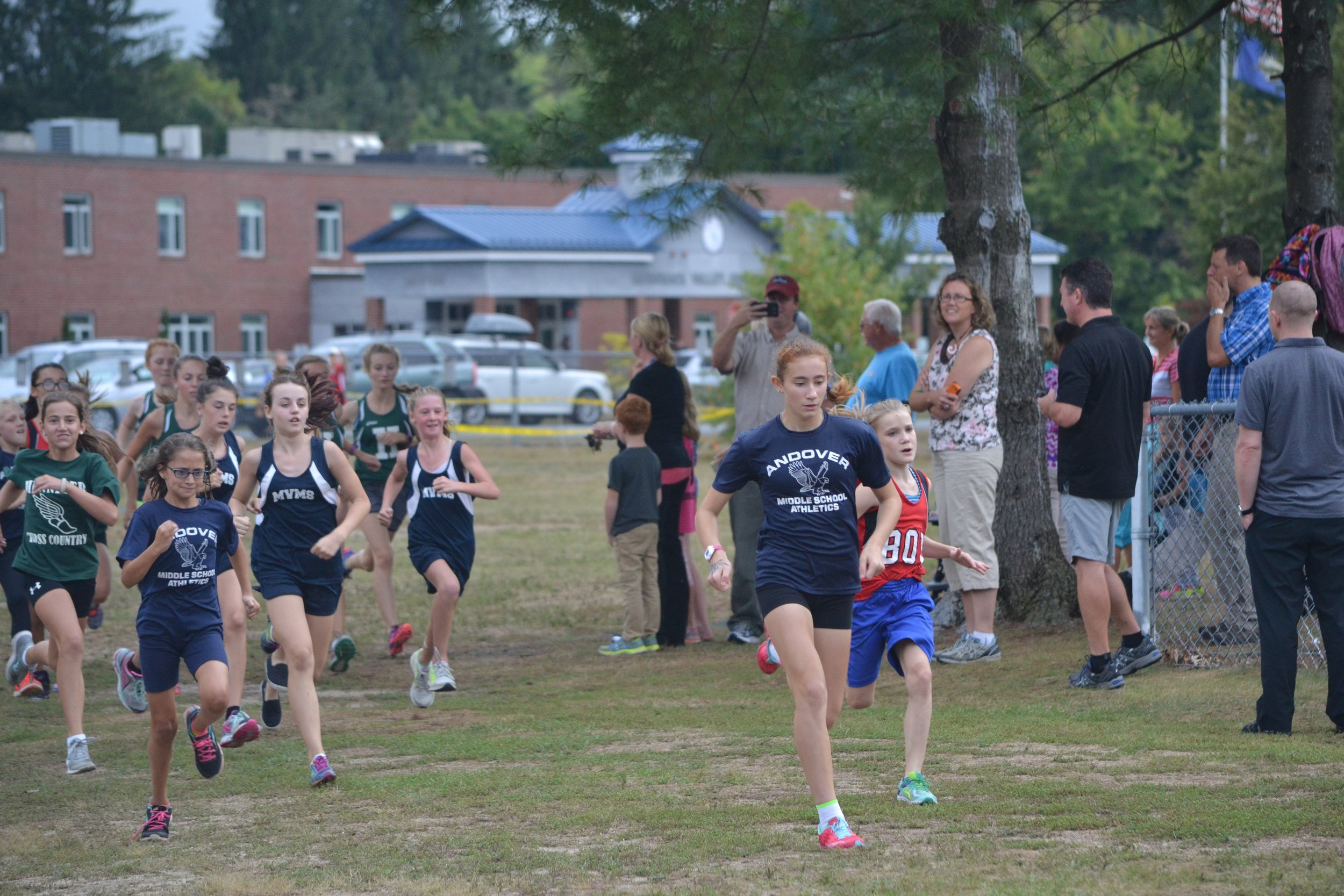 Future teammates Sophia R. and Sophia R. lead their Andover and MV teams in the girls race.