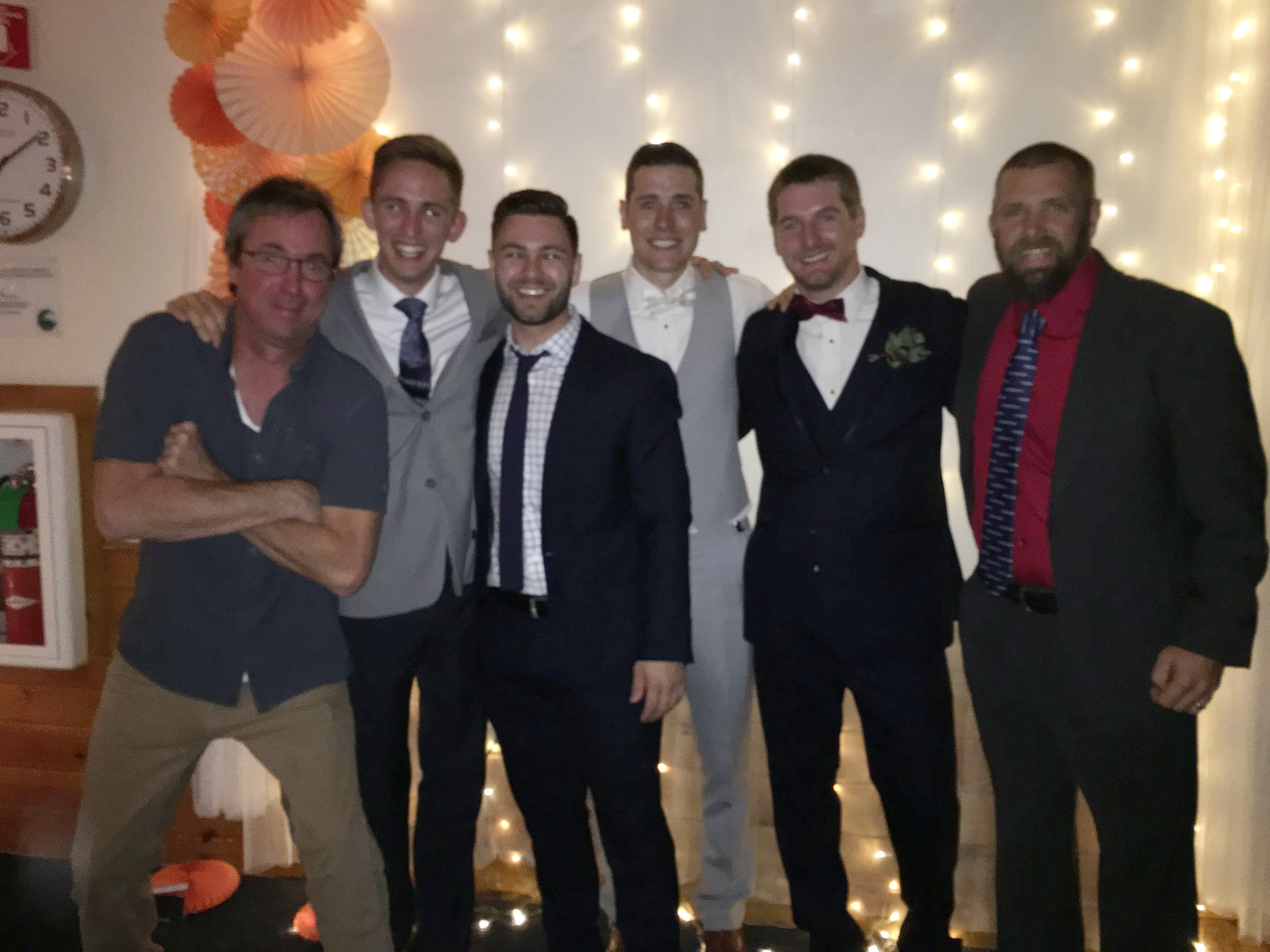 Colton's Wedding, with (from left) former Coach Neilsen, Brandon McCoo (MVXC '13), Matt Doyle (MVXC '15), the groom, Colton Ham (MVXC '12), Derek Moller (MVXC '10), Officiant and Coach Irving