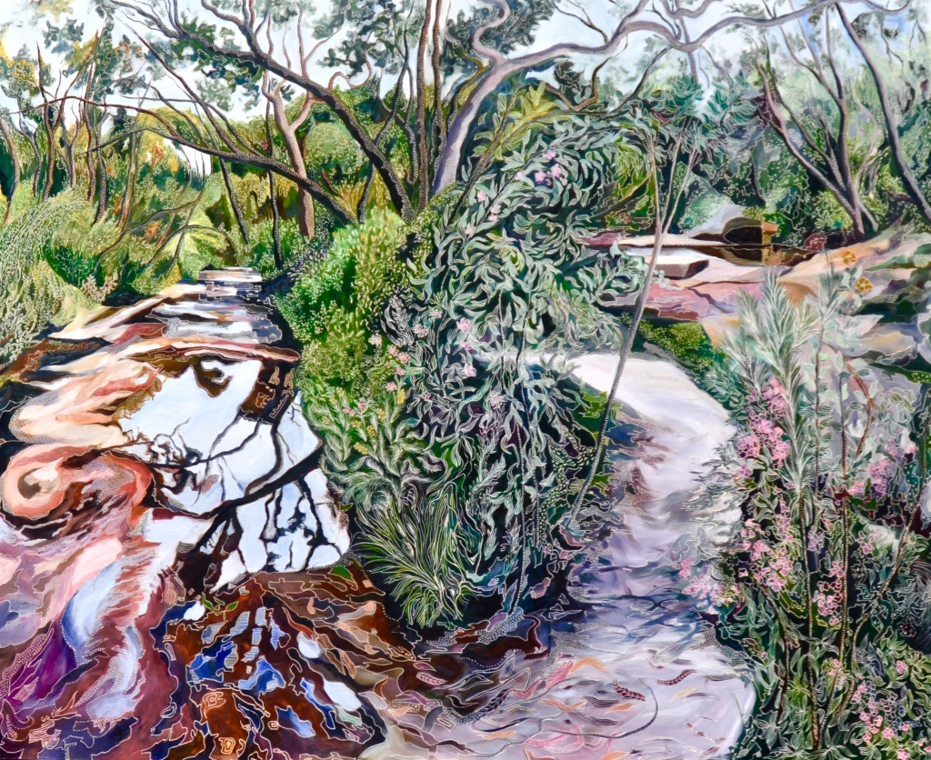 Title: Spring in the Garden of Ku-Ring-Gai   Medium: oil on board carved  Dimensions: 120 x 150 cm   SOLD