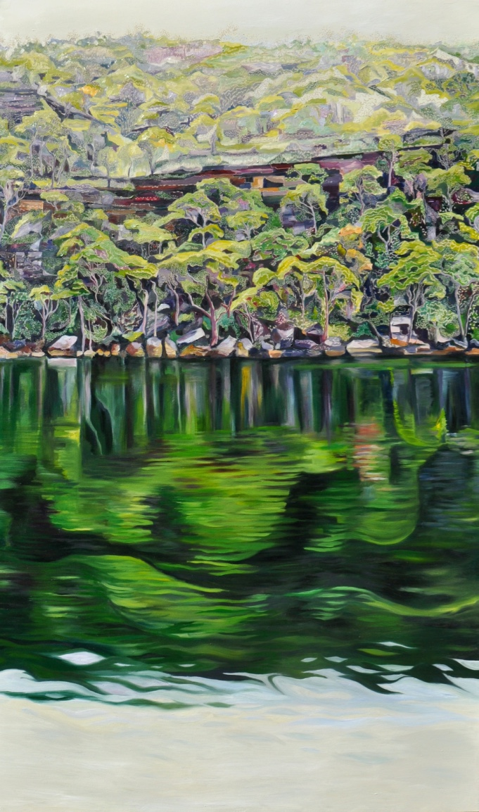 Title: Lurid Waters - Illawong Bay   Medium: Oil on Board Carved  DimensionsL 200 x 120 cm   SOLD