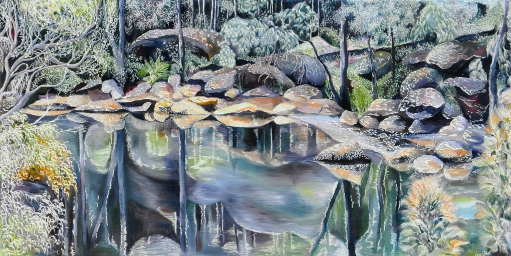 Title: Casuarinas and Oysters at Coal and Candle Creek   Medium: Oil on Board Carved  Dimensions: 60x 120 cm   SOLD