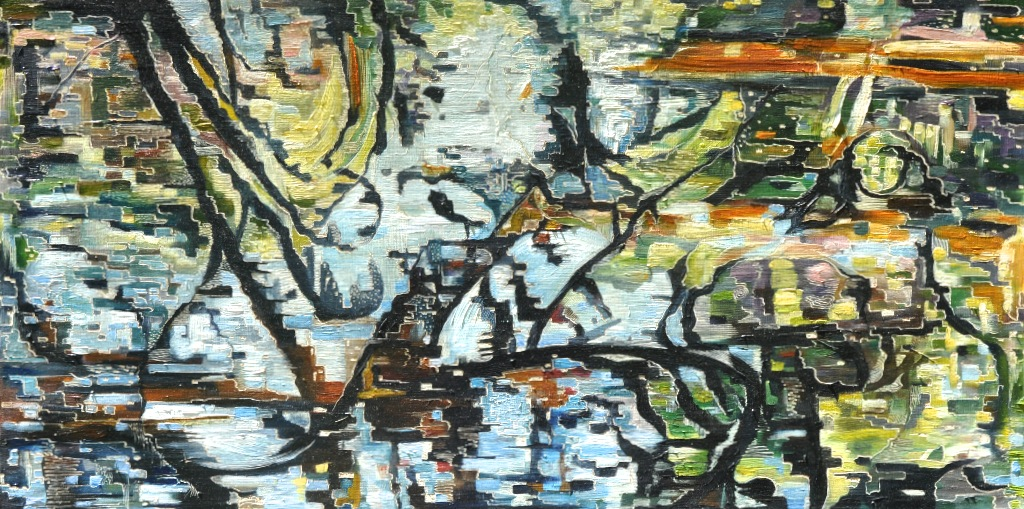 Title: Fractured Reflections   Medium: Oil on Board Carved  Dimensions: 60x 120 cm