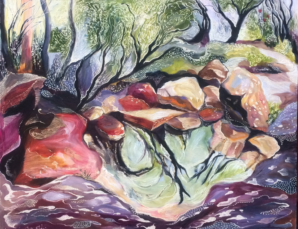 Title: Hidden Creek   Medium: Oil on board carved  Dimensions: 40.5 x 51 cm   SOLD