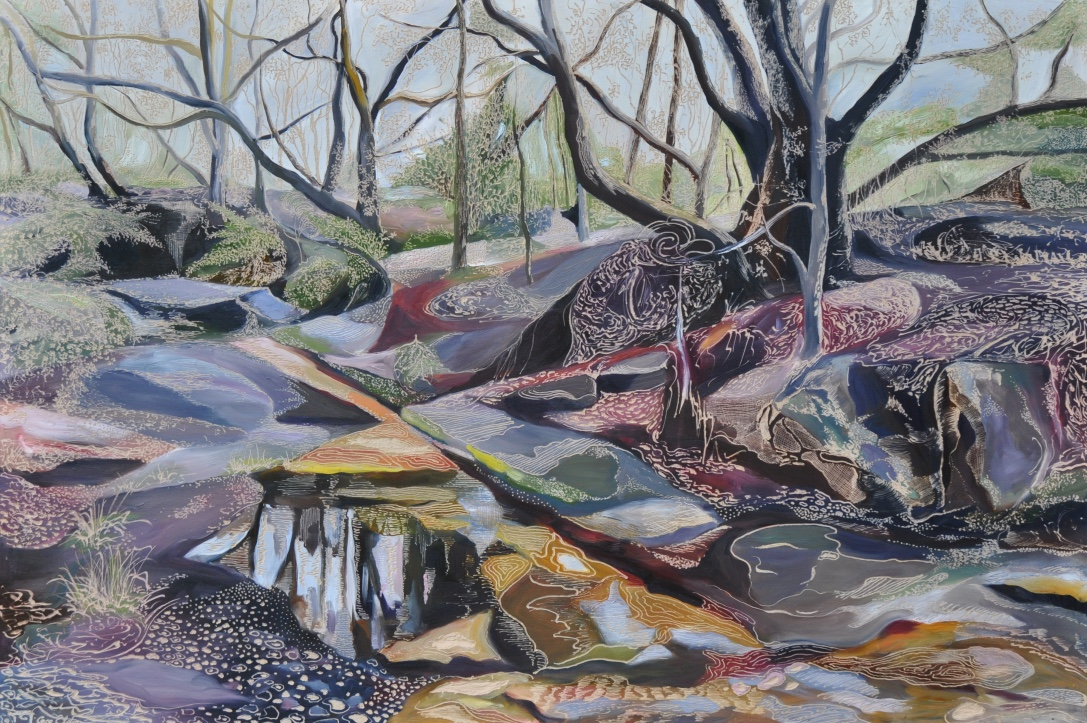 Title: Salvation Creek in the Wet   Medium: oil on board carved  Dimensions: 60 x 90 cm   SOLD