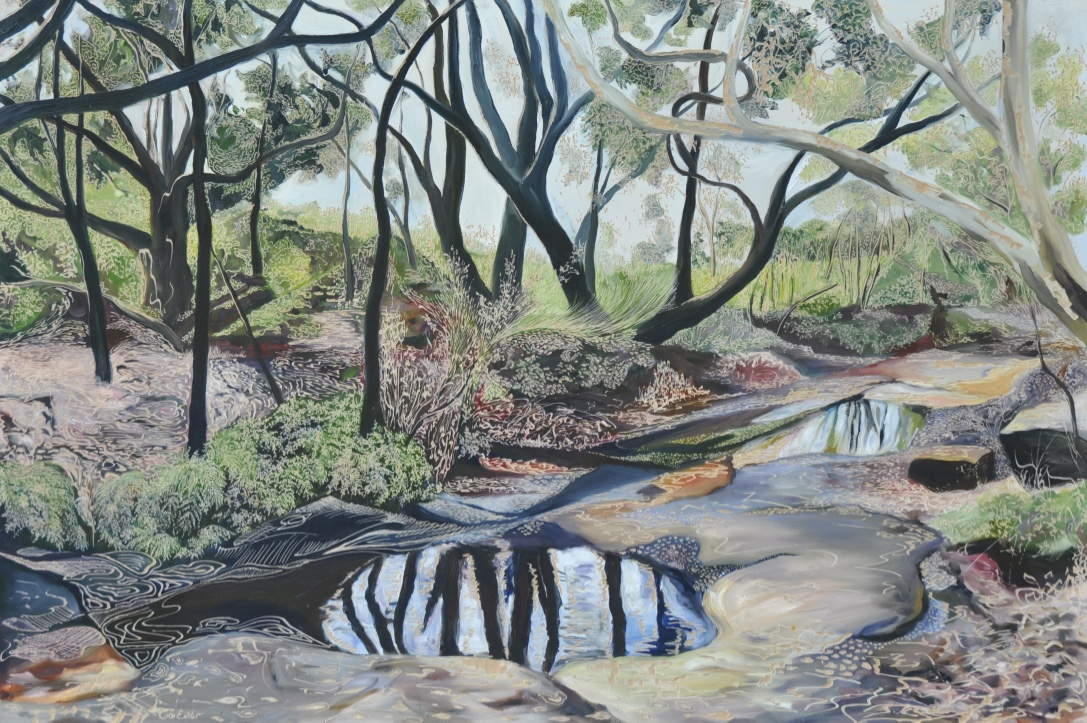 Title: Salvation Creek - After the Rain   Medium: Oil on board carved  Dimensions: 60 x 90 cm   SOLD