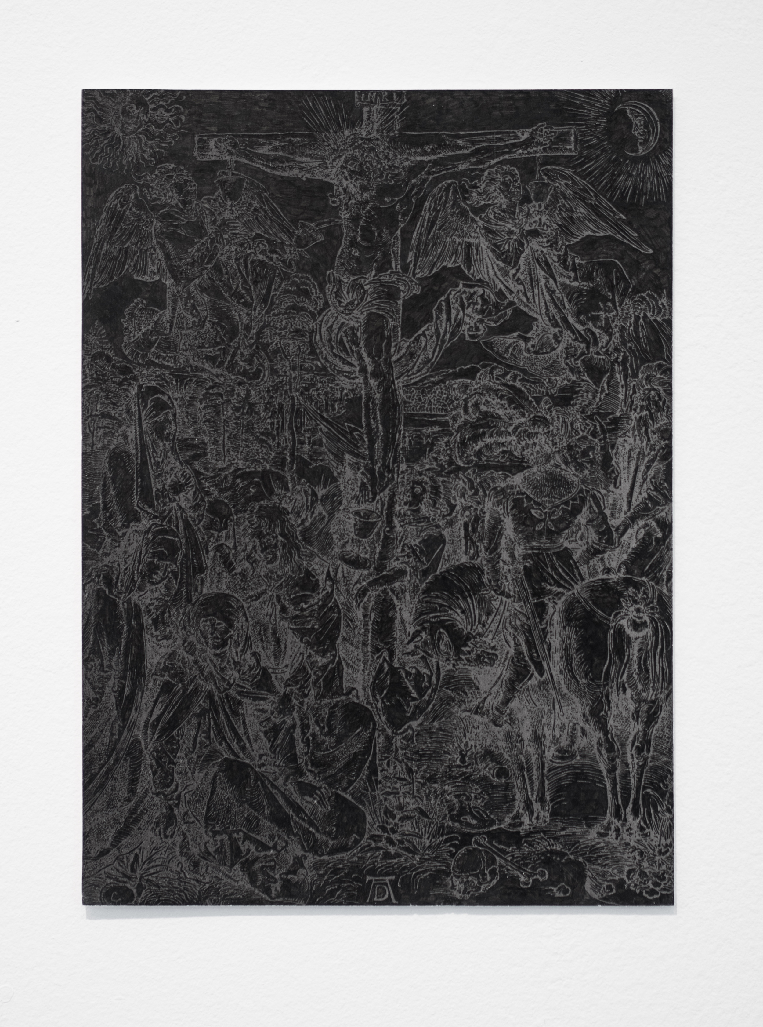 """Illumination (Black), part 5   India ink on a page torn from an Albrecht Durer woodcut anthology, paper  approx. 8.5"""" x 6""""  2015"""