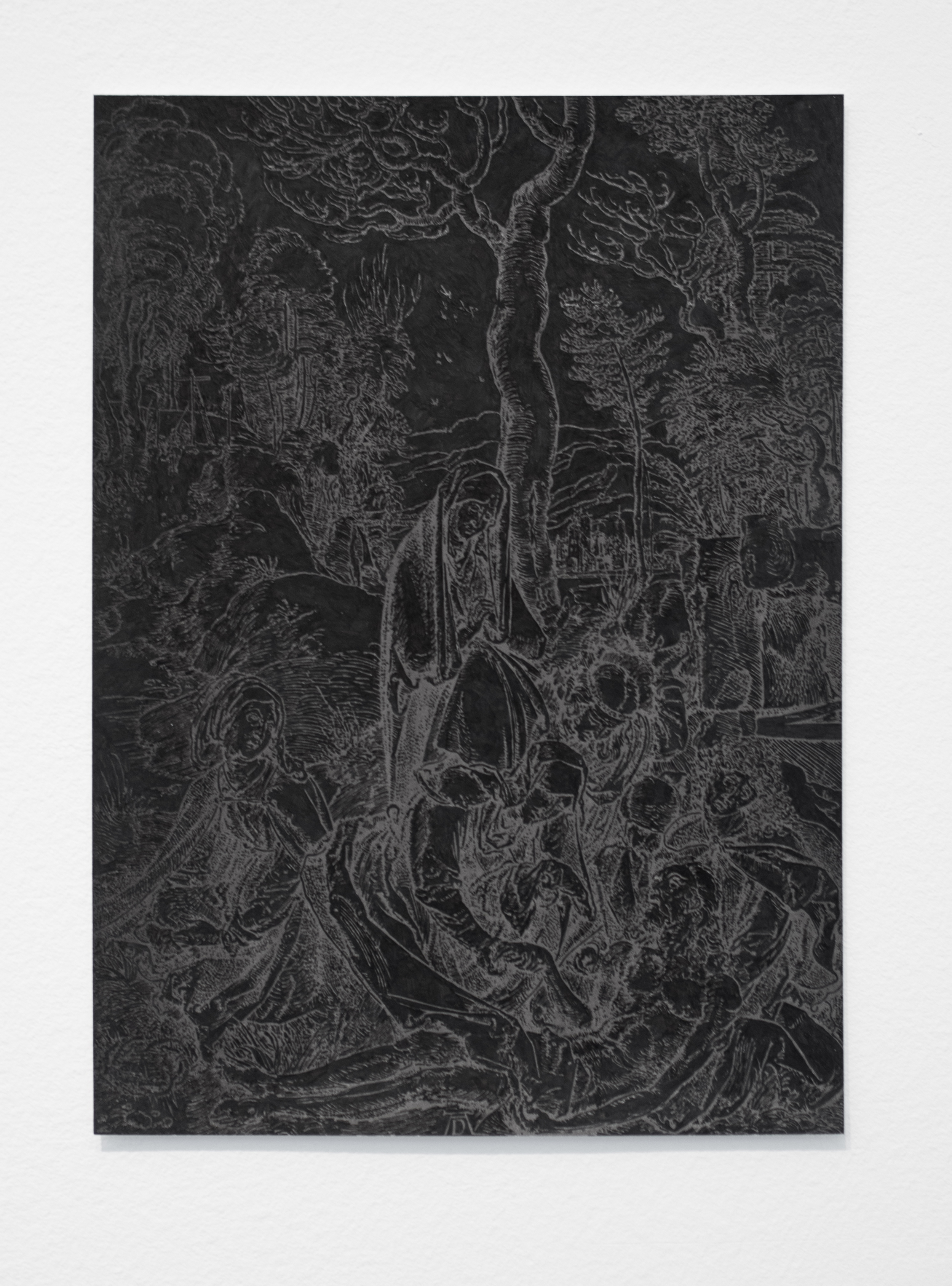"""Illumination (Black), part 6    India ink on a page torn from an Albrecht Durer woodcut anthology, paper  approx. 8.5"""" x 6""""  2015"""